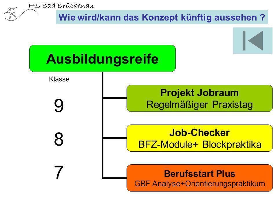 HS Bad Brückenau Wie wird/kann das Konzept künftig aussehen ? Ausbildungsreife Projekt Jobraum Regelmäßiger Praxistag Job-Checker BFZ-Module+ Blockpra