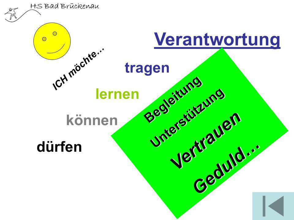 HS Bad Brückenau Verantwortung tragen lernen können dürfen BegleitungUnterstützungVertrauenGeduld… ICH möchte…