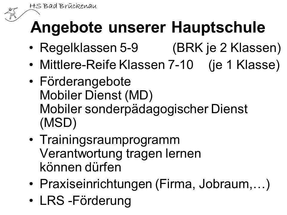 HS Bad Brückenau Angebote unserer Hauptschule Regelklassen 5-9 (BRK je 2 Klassen) Mittlere-Reife Klassen 7-10 (je 1 Klasse) Förderangebote Mobiler Die