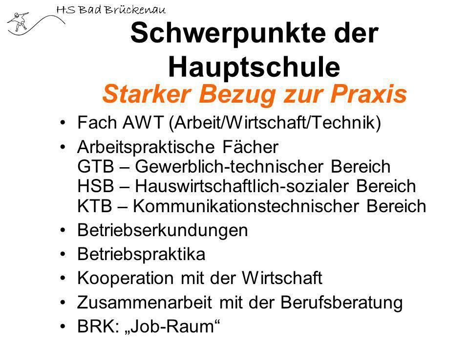 HS Bad Brückenau Schwerpunkte der Hauptschule Starker Bezug zur Praxis Fach AWT (Arbeit/Wirtschaft/Technik) Arbeitspraktische Fächer GTB – Gewerblich-