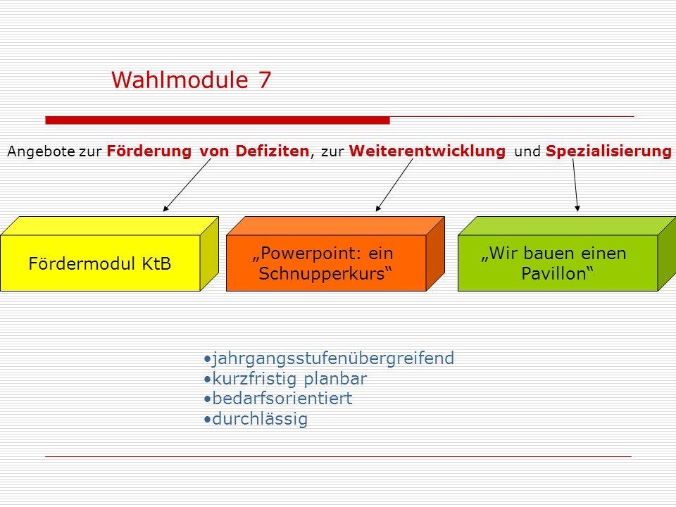 Friseur / Kosmetik Wahlpflichtmodule 7 (In Zusammenarbeit mit GbF und HWK) …sechsstündige Praxiserfahrung (GbF) in einem Berufsfeld, welche die Grundl