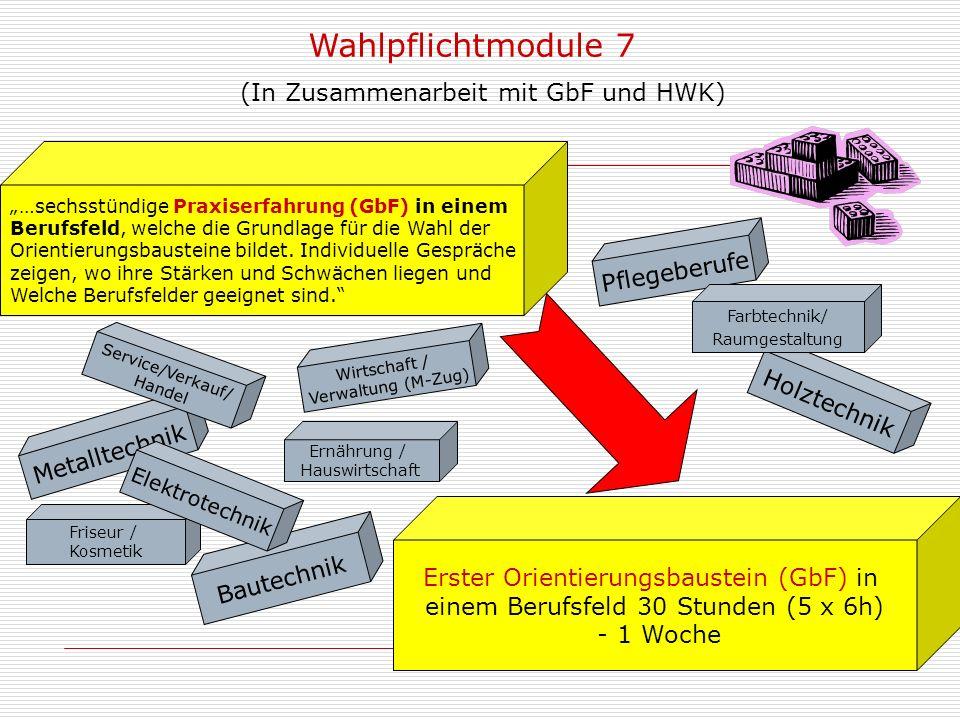Friseur / Kosmetik Wahlpflichtmodule 7 (In Zusammenarbeit mit GbF und HWK) …sechsstündige Praxiserfahrung (GbF) in einem Berufsfeld, welche die Grundlage für die Wahl der Orientierungsbausteine bildet.