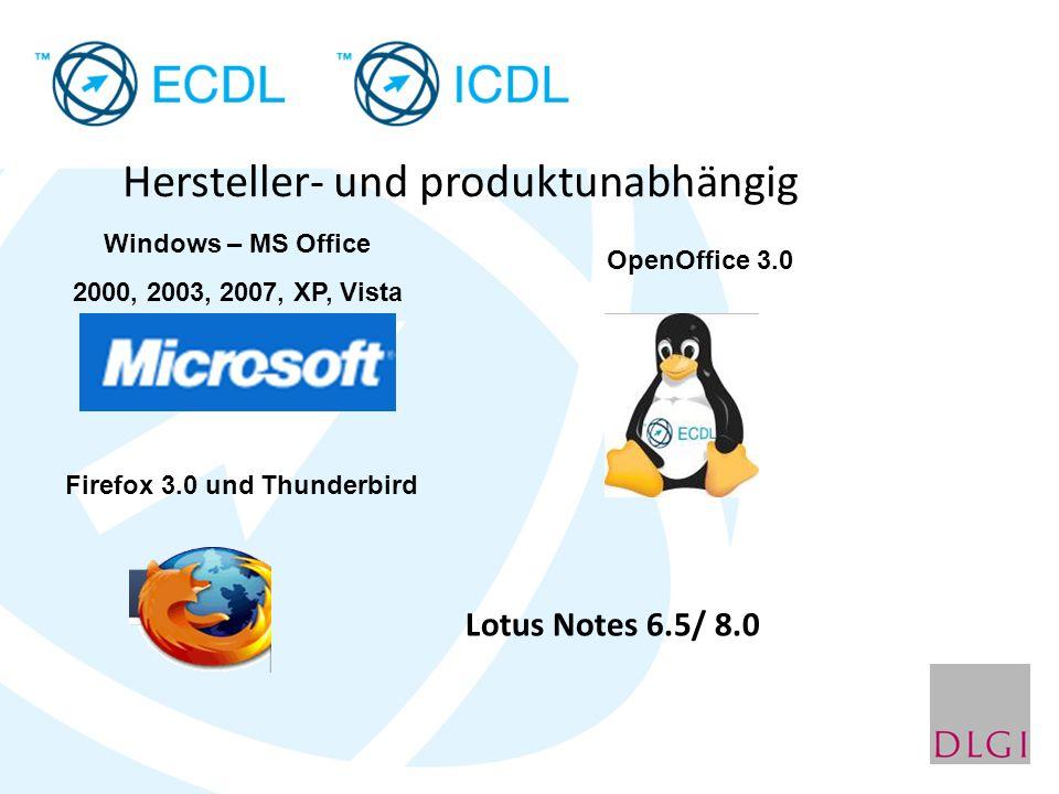 Hersteller- und produktunabhängig Windows – MS Office 2000, 2003, 2007, XP, Vista OpenOffice 3.0 Firefox 3.0 und Thunderbird Lotus Notes 6.5/ 8.0