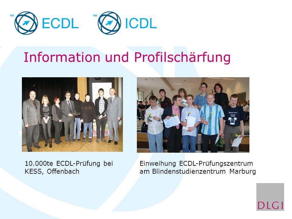 Information und Profilschärfung 10.000te ECDL-Prüfung bei KESS, Offenbach Einweihung ECDL-Prüfungszentrum am Blindenstudienzentrum Marburg