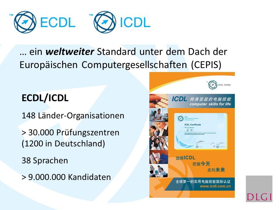 … ein weltweiter Standard unter dem Dach der Europäischen Computergesellschaften (CEPIS) ECDL/ICDL 148 Länder-Organisationen > 30.000 Prüfungszentren (1200 in Deutschland) 38 Sprachen > 9.000.000 Kandidaten