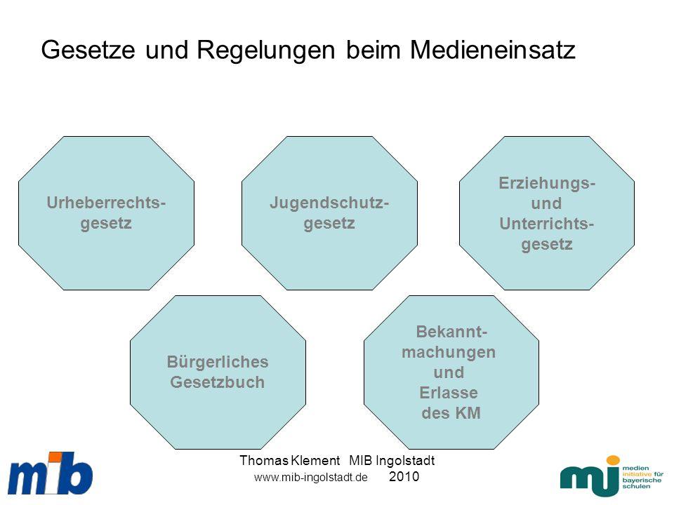 Thomas Klement MIB Ingolstadt www.mib-ingolstadt.de 2010 Gesetze und Regelungen beim Medieneinsatz Urheberrechts- gesetz Bekannt- machungen und Erlass
