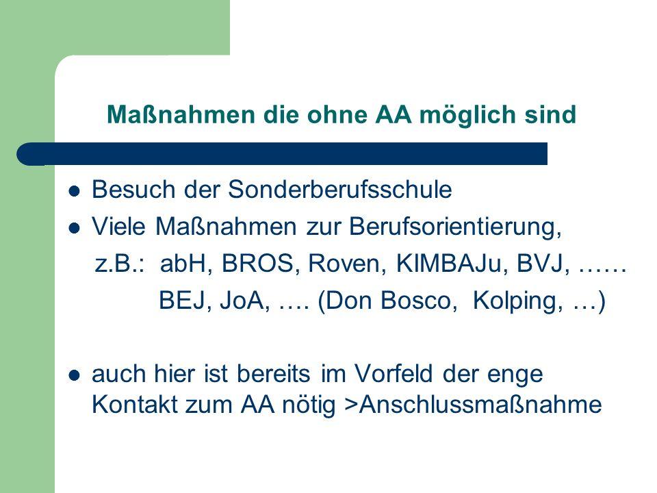 Maßnahmen die ohne AA möglich sind Besuch der Sonderberufsschule Viele Maßnahmen zur Berufsorientierung, z.B.: abH, BROS, Roven, KIMBAJu, BVJ, …… BEJ, JoA, ….
