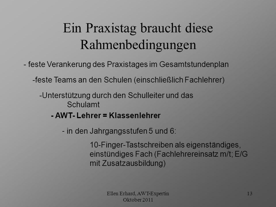 Ellen Erhard, AWT-Expertin Oktober 2011 14 2 UStd.