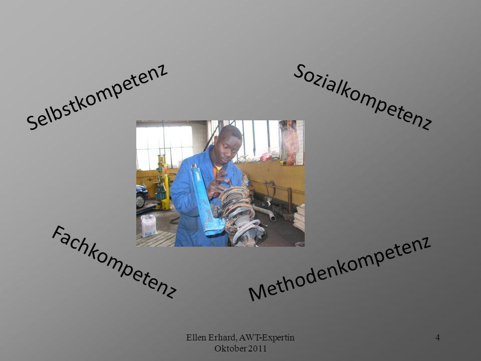 Ellen Erhard, AWT-Expertin Oktober 2011 5 Zusammenspiel der Kompetenzbereiche Fach- kompetenz Fachkönnen Fachwissen Individual- kompetenz Lern- und Arbeitsmethoden persönliche Werte Aufgaben- orientierung Soziale Orientierung Sozialkompetenz Zusammenarbeit Kommunikation Handlungs- kompetenz Ganzheitliche Qualifikation Quelle: Siemens AG