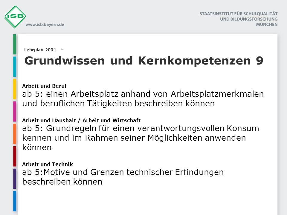 Lehrplan 2004 – Grundwissen und Kernkompetenzen 9 Arbeit und Beruf ab 5: einen Arbeitsplatz anhand von Arbeitsplatzmerkmalen und beruflichen Tätigkeit