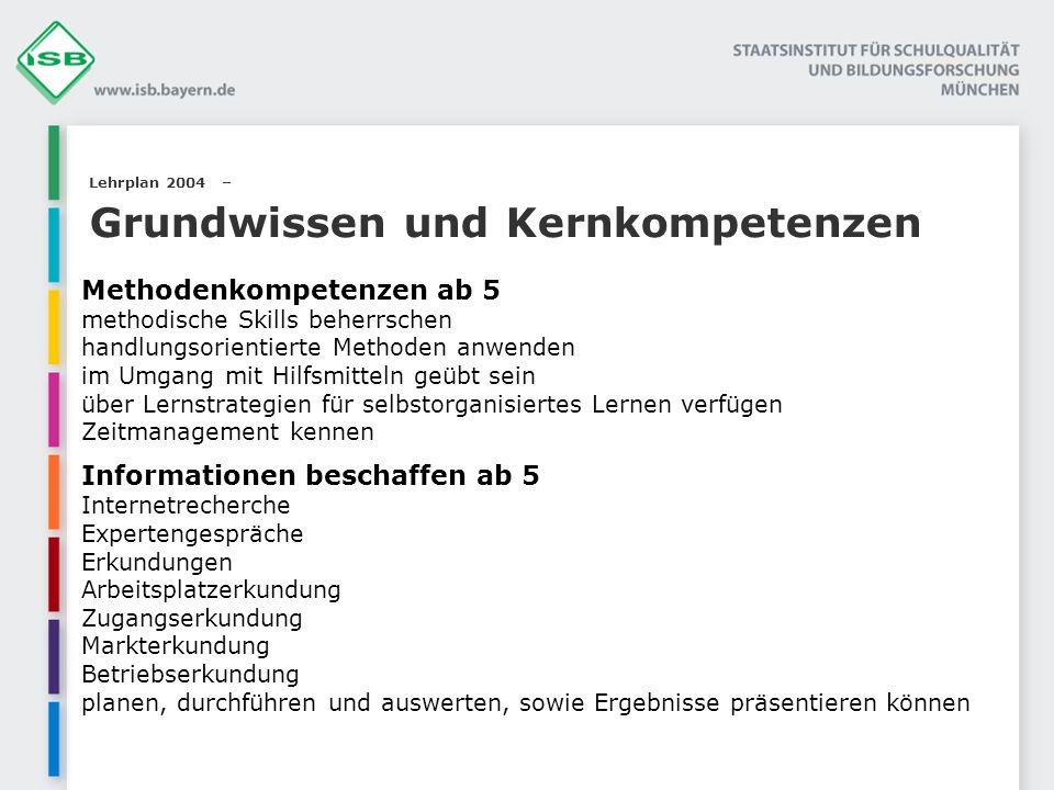 Lehrplan 2004 – Grundwissen und Kernkompetenzen Methodenkompetenzen ab 5 methodische Skills beherrschen handlungsorientierte Methoden anwenden im Umga