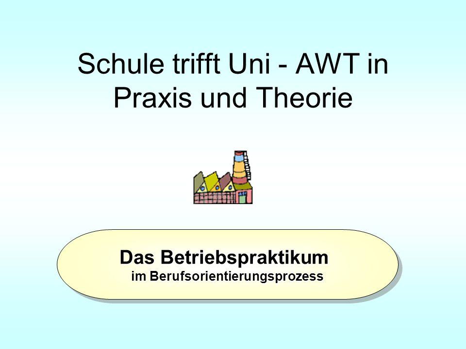 Schule trifft Uni - AWT in Praxis und Theorie Das Betriebspraktikum im Berufsorientierungsprozess Das Betriebspraktikum im Berufsorientierungsprozess