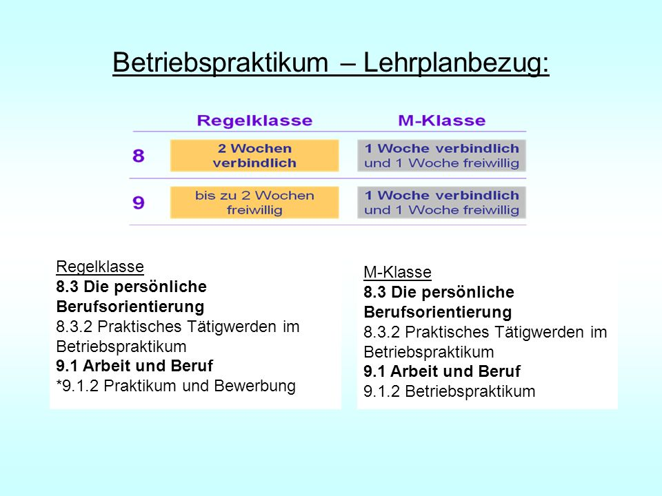 Betriebspraktikum – Lehrplanbezug: Regelklasse 8.3 Die persönliche Berufsorientierung 8.3.2 Praktisches Tätigwerden im Betriebspraktikum 9.1 Arbeit un