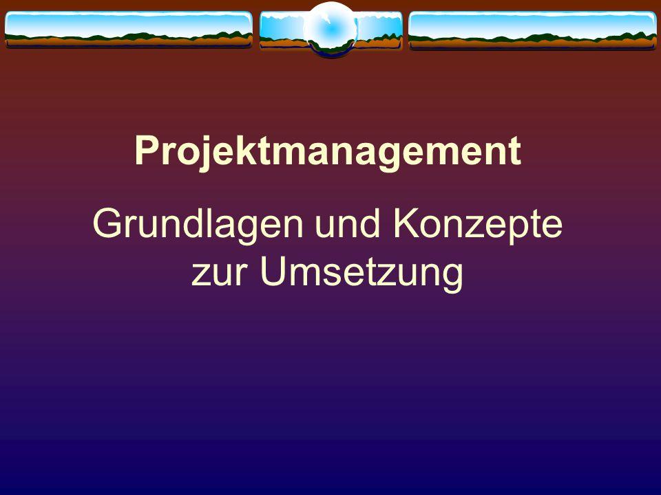 Projektmanagement Grundlagen und Konzepte zur Umsetzung