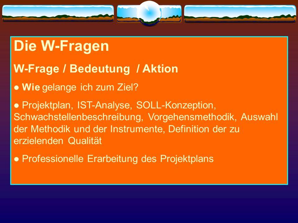 Die W-Fragen W-Frage / Bedeutung / Aktion Wie gelange ich zum Ziel? Projektplan, IST-Analyse, SOLL-Konzeption, Schwachstellenbeschreibung, Vorgehensme