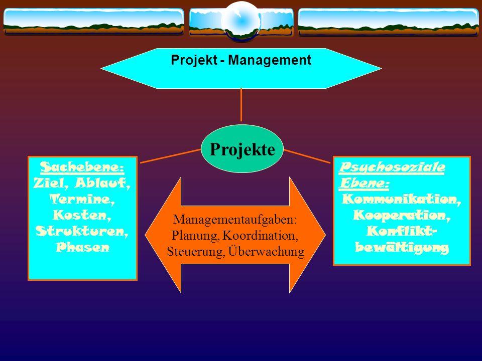 Projekt - Management Sachebene: Ziel, Ablauf, Termine, Kosten, Strukturen, Phasen Psychosoziale Ebene: Kommunikation, Kooperation, Konflikt- bewältigu