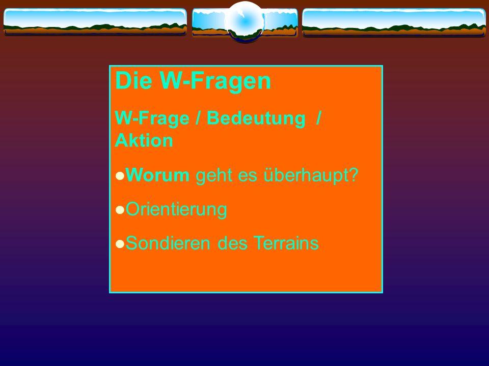 Die W-Fragen W-Frage / Bedeutung / Aktion Worum geht es überhaupt? Orientierung Sondieren des Terrains