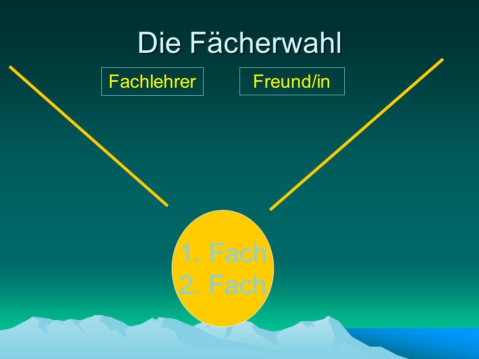 Die Fächerwahl 1. Fach 2. Fach FachlehrerFreund/in
