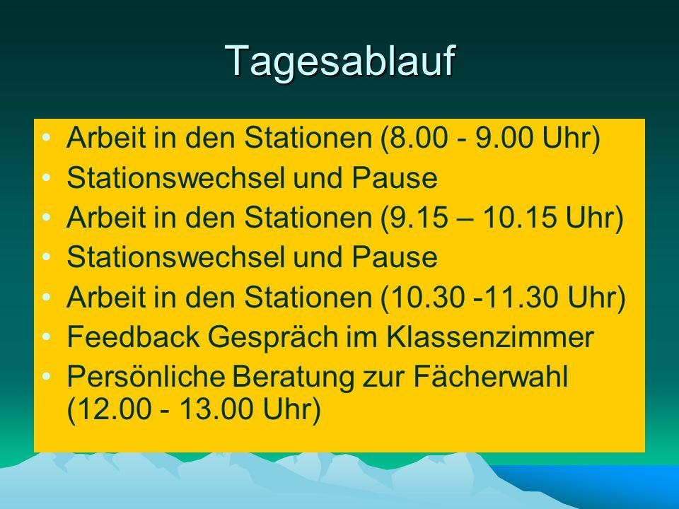 Tagesablauf Arbeit in den Stationen (8.00 - 9.00 Uhr) Stationswechsel und Pause Arbeit in den Stationen (9.15 – 10.15 Uhr) Stationswechsel und Pause A