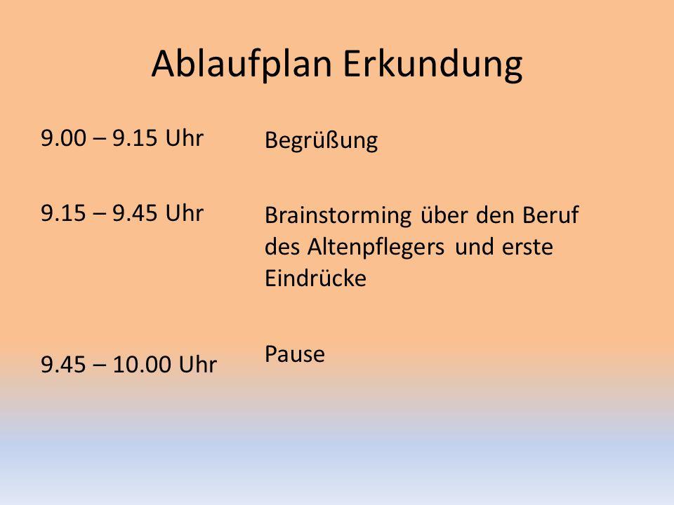 Ablaufplan Erkundung 9.00 – 9.15 Uhr 9.15 – 9.45 Uhr 9.45 – 10.00 Uhr Begrüßung Brainstorming über den Beruf des Altenpflegers und erste Eindrücke Pause