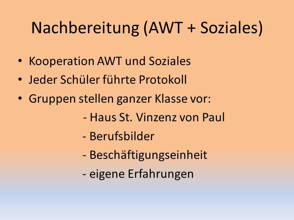 Nachbereitung (AWT + Soziales) Kooperation AWT und Soziales Jeder Schüler führte Protokoll Gruppen stellen ganzer Klasse vor: - Haus St.