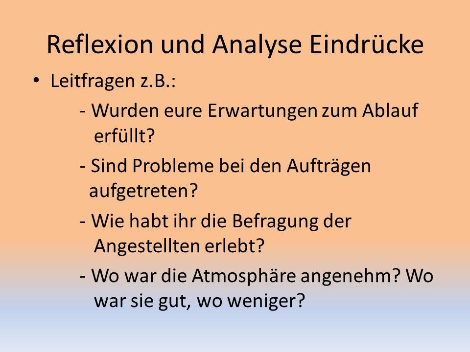 Reflexion und Analyse Eindrücke Leitfragen z.B.: - Wurden eure Erwartungen zum Ablauf erfüllt.