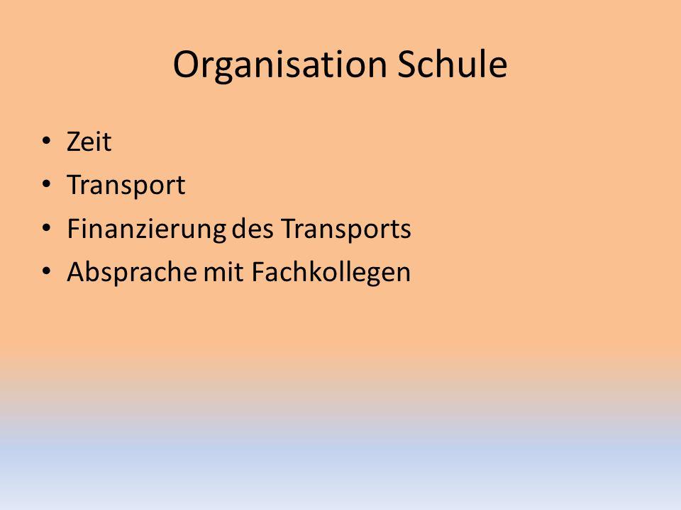 Organisation Schule Zeit Transport Finanzierung des Transports Absprache mit Fachkollegen