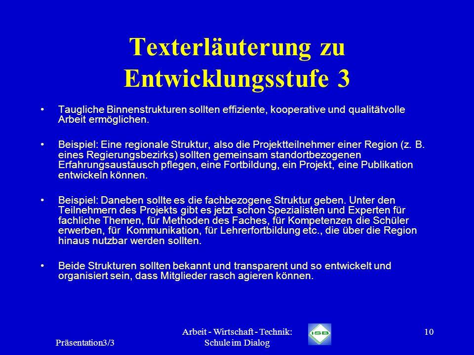 Präsentation3/3 Arbeit - Wirtschaft - Technik: Schule im Dialog 10 Texterläuterung zu Entwicklungsstufe 3 Taugliche Binnenstrukturen sollten effizient