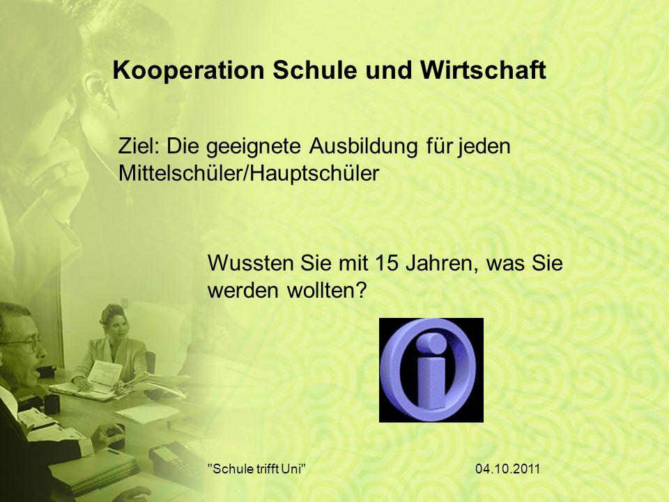 04.10.2011 Schule trifft Uni Schüler Klasse Schule Kleiner Betrieb Mittelständischer Betrieb Großbetrieb Kooperation zwischen:
