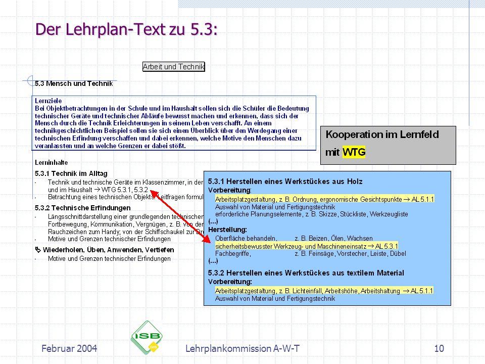 Februar 2004Lehrplankommission A-W-T10 Der Lehrplan-Text zu 5.3:
