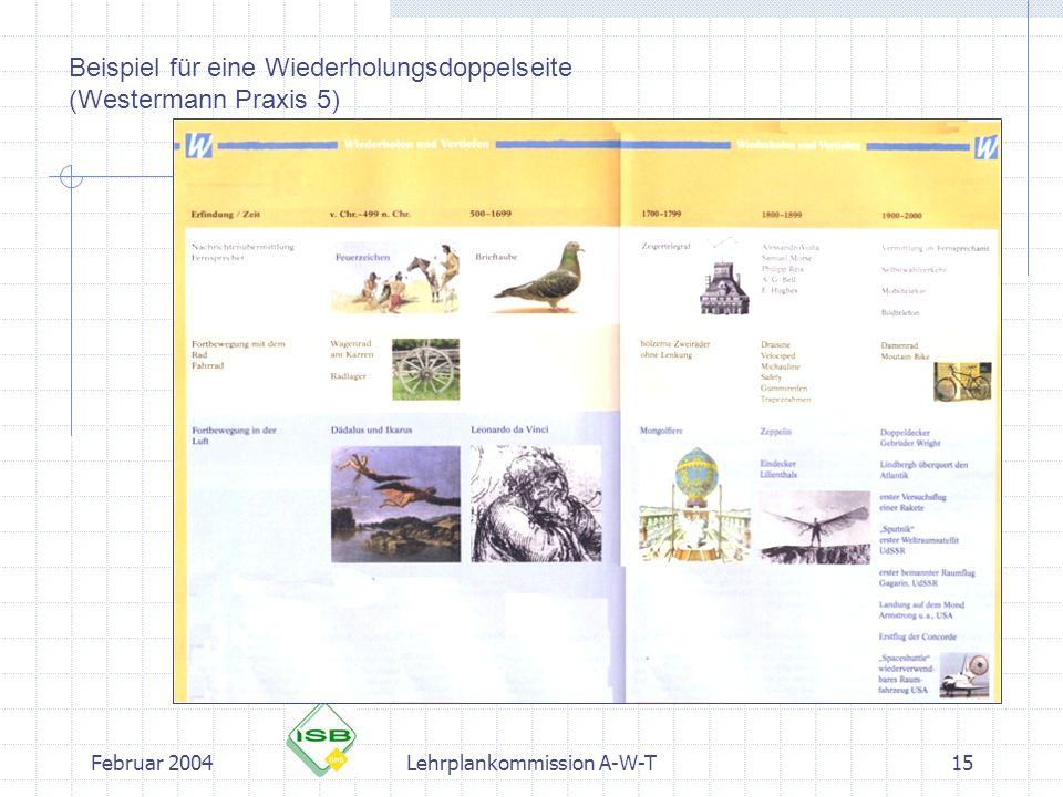 Februar 2004Lehrplankommission A-W-T15 Beispiel für eine Wiederholungsdoppelseite (Westermann Praxis 5)
