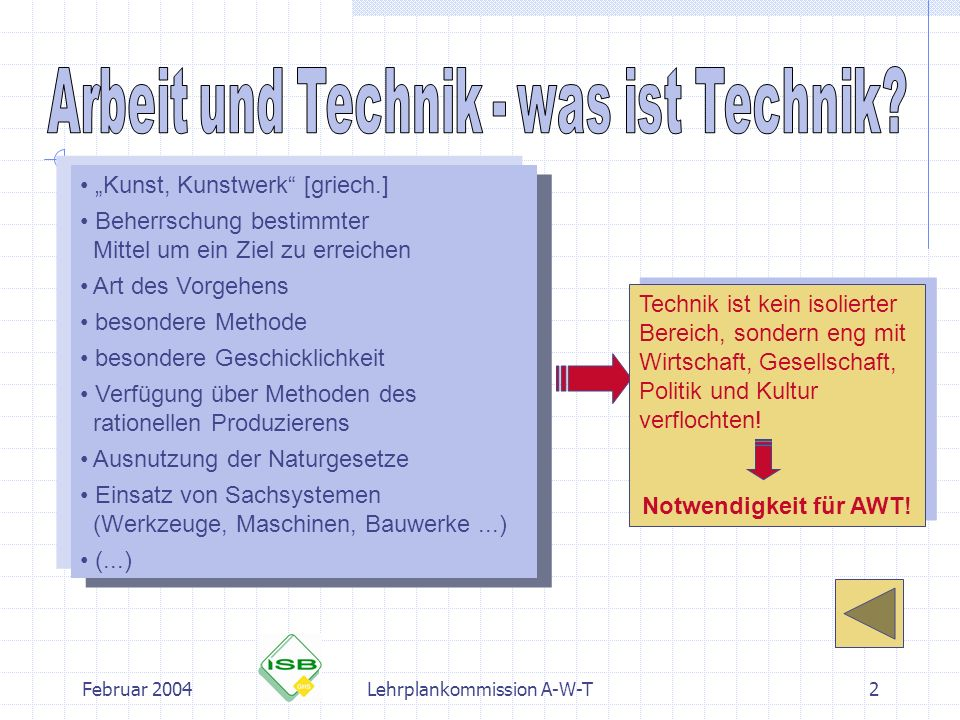 Februar 2004Lehrplankommission A-W-T3 Hintergrundinformation zum Gegenstandsfeld Arbeit und Technik Begriff Technik neue Akzentsetzung in AWT Grundlagen der Technikdidaktik