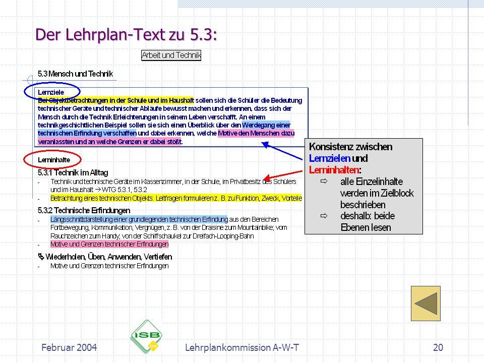 Februar 2004Lehrplankommission A-W-T20 Der Lehrplan-Text zu 5.3:
