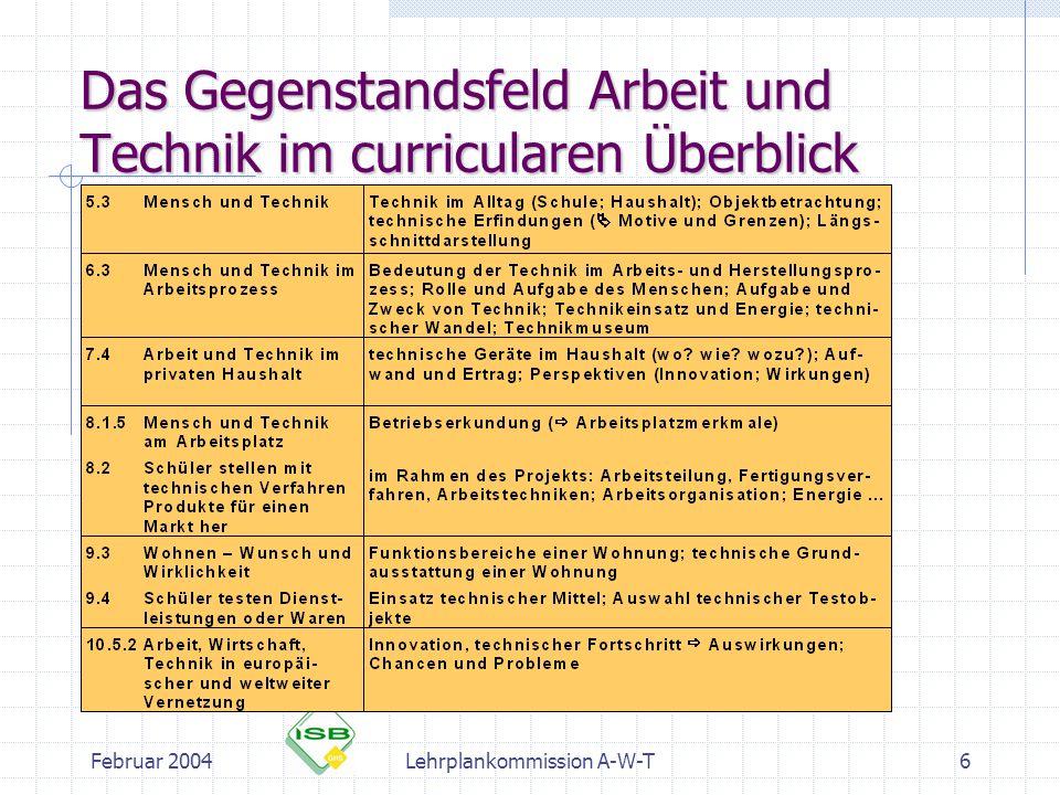 Februar 2004Lehrplankommission A-W-T7 Die Gegenstandsfelder: Arbeit Arbeit und Technik Arbeit und Haushalt Arbeit und Beruf Arbeit und Wirtschaft Arbeit und Recht