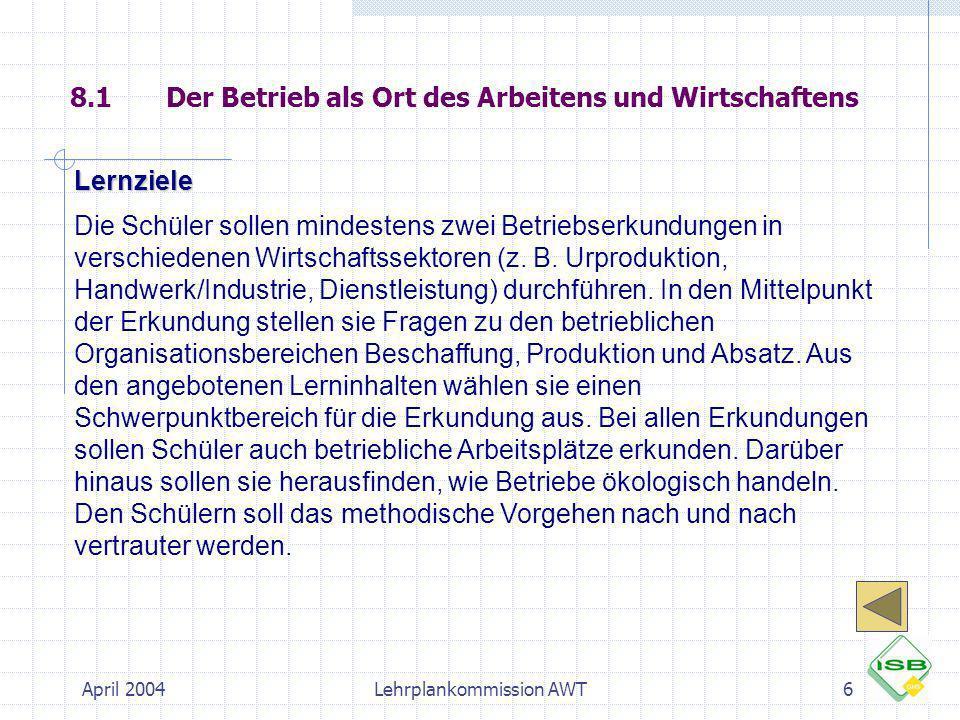 April 2004Lehrplankommission AWT27 Arbeitsplatzerkundung Schule WTG 5 Arbeitsplatzerkundung Haushalt Erkundung z.