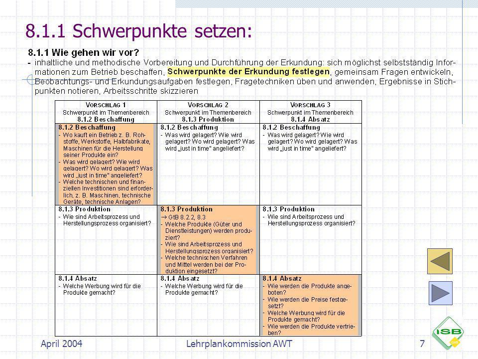 April 2004Lehrplankommission AWT8 Lesen Sie bitte den Lernbereich 8.1 Der Betrieb als Ort des Arbeitens und Wirtschaftens in den beiden Fachlehrplänen AWT 8 Worum geht es in 8.1.