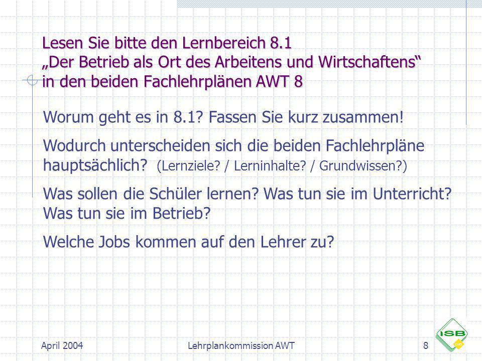 April 2004Lehrplankommission AWT19 Checkliste zur Betriebserkundung Vorbereitung: Unterrichtliche Vorbereitungen: Fragenkataloge erstellen Was heißt beobachten.