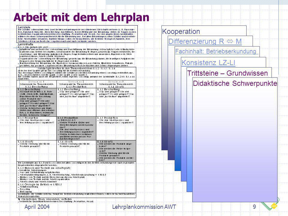 April 2004Lehrplankommission AWT20 Checkliste zur Betriebserkundung Die Schüler führen die Betriebserkundung gemäß der Planung durch.
