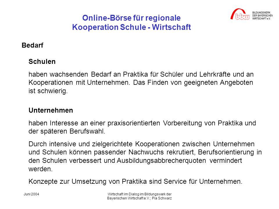 Online-Börse für regionale Kooperation Schule - Wirtschaft Juni 2004Wirtschaft im Dialog im Bildungswerk der Bayerischen Wirtschaft e.V.; Pia Schwarz