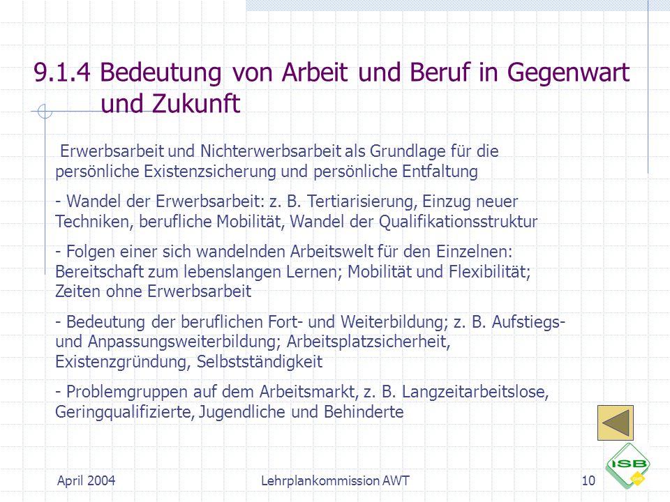 April 2004Lehrplankommission AWT10 9.1.4 Bedeutung von Arbeit und Beruf in Gegenwart und Zukunft  Erwerbsarbeit und Nichterwerbsarbeit als Grundlage