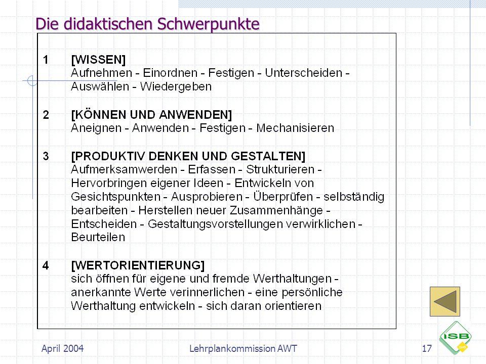 April 2004Lehrplankommission AWT17 Die didaktischen Schwerpunkte