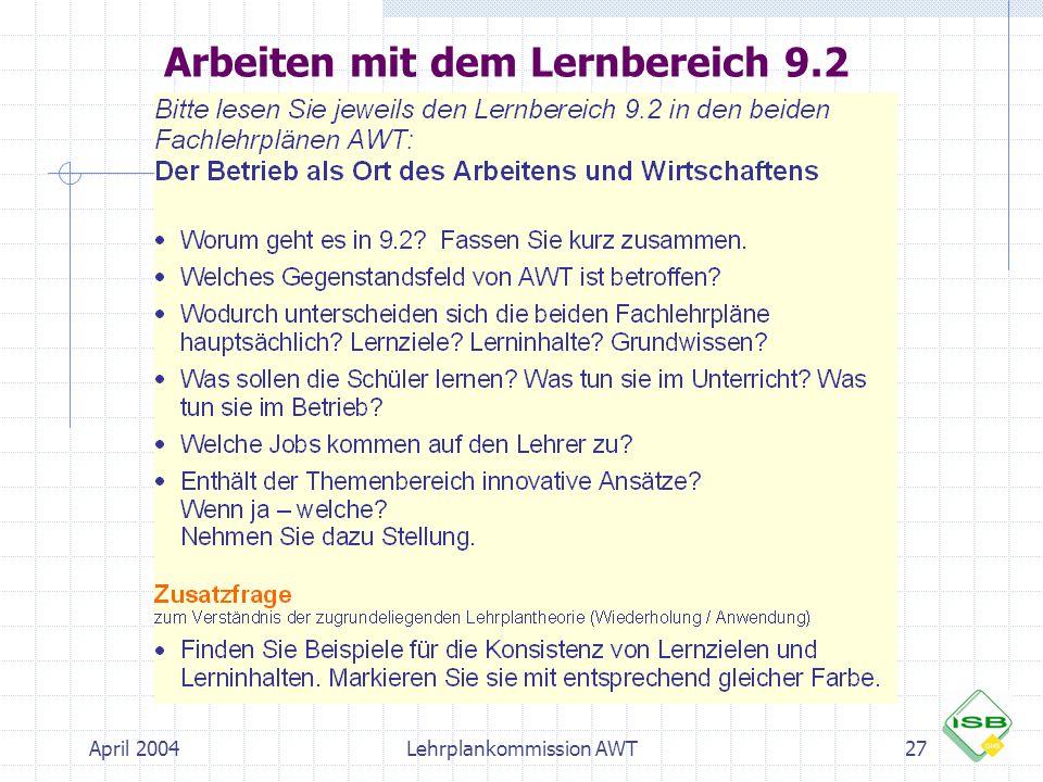 April 2004Lehrplankommission AWT27 Arbeiten mit dem Lernbereich 9.2