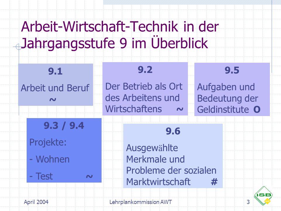 April 2004Lehrplankommission AWT3 Arbeit-Wirtschaft-Technik in der Jahrgangsstufe 9 im Überblick 9.1 Arbeit und Beruf ~ 9.2 Der Betrieb als Ort des Ar