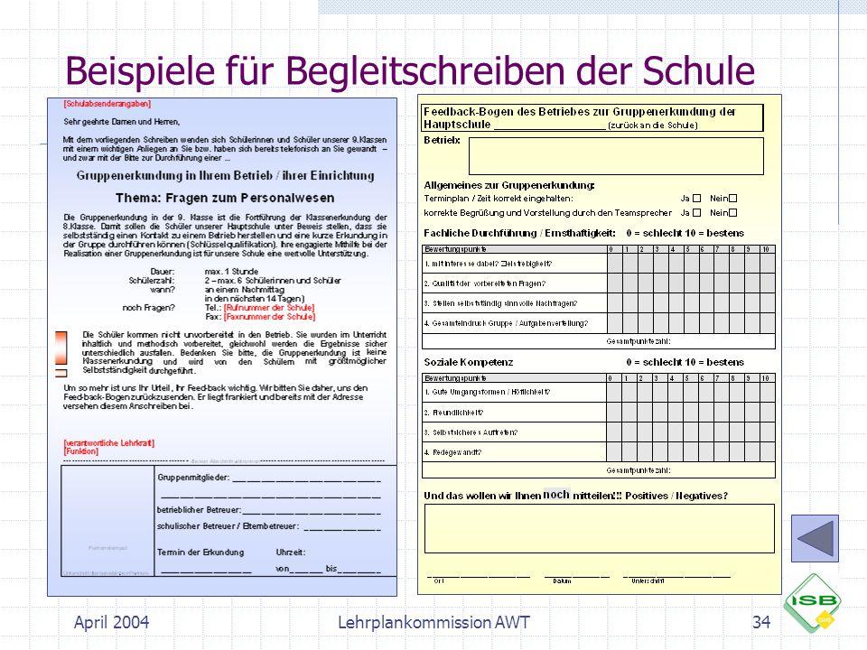 April 2004Lehrplankommission AWT34 Beispiele für Begleitschreiben der Schule