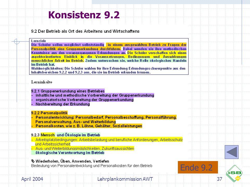 April 2004Lehrplankommission AWT37 Konsistenz 9.2 Ende 9.2