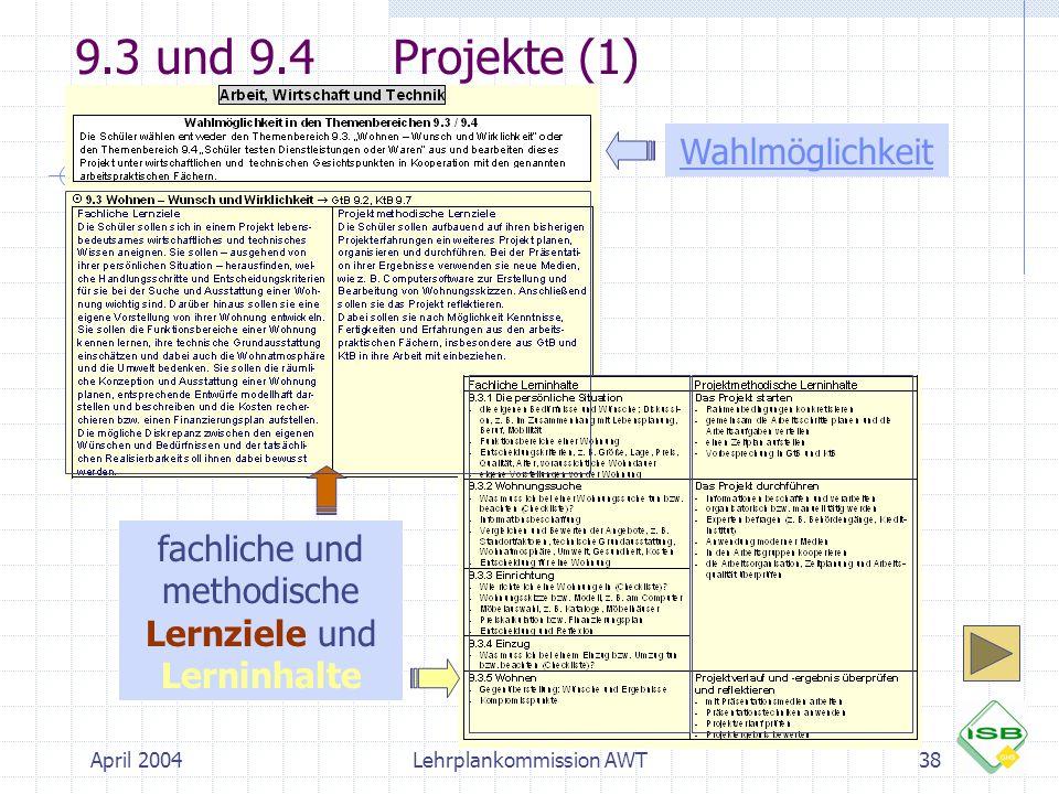 April 2004Lehrplankommission AWT38 9.3 und 9.4Projekte (1) fachliche und methodische Lernziele und Lerninhalte Wahlmöglichkeit