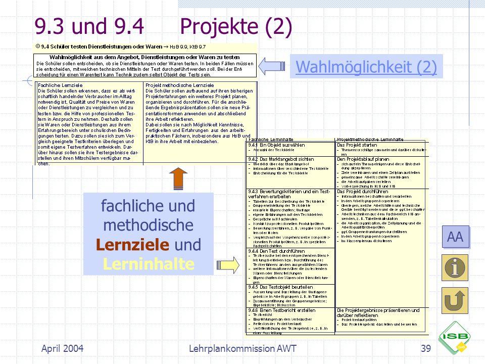April 2004Lehrplankommission AWT39 9.3 und 9.4Projekte (2) Wahlmöglichkeit (2) fachliche und methodische Lernziele und Lerninhalte AA