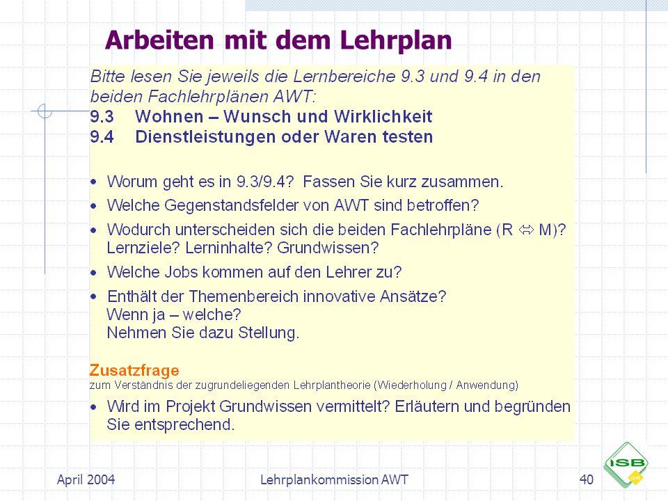 April 2004Lehrplankommission AWT40 Arbeiten mit dem Lehrplan