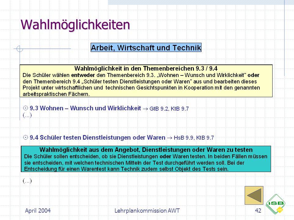April 2004Lehrplankommission AWT42 Wahlmöglichkeiten