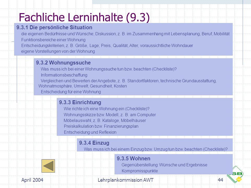 April 2004Lehrplankommission AWT44 Fachliche Lerninhalte (9.3) 9.3.1 Die persönliche Situation  die eigenen Bedürfnisse und Wünsche; Diskussion, z. B